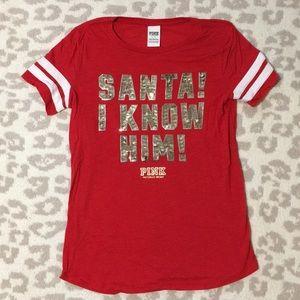 VS Pink Red Christmas Santa Shirt